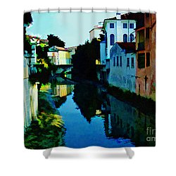Shower Curtain featuring the photograph Quaint On The Canal by Roberta Byram