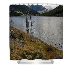 Quake Lake Shower Curtain by Cindy Murphy - NightVisions