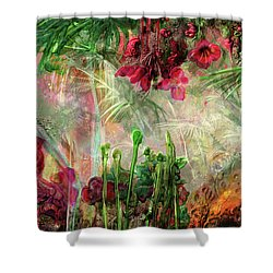 Shower Curtain featuring the digital art Qualia's Jungle by Russell Kightley
