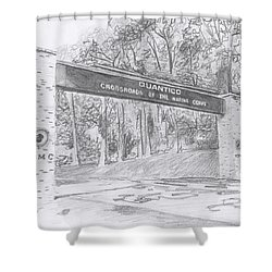 Quantico Welcome Graphite Shower Curtain