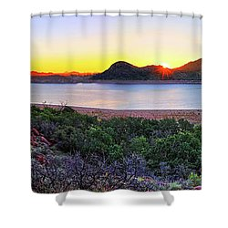Quartz Mountains And Lake Altus Panorama - Oklahoma Shower Curtain by Jason Politte