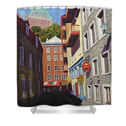 Quebec City Side Street Shower Curtain