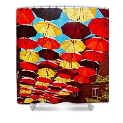 Shower Curtain featuring the painting Raining Umbrellas by Joan Reese