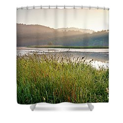 Shower Curtain featuring the photograph Quechee Sunrise by Susan Cole Kelly