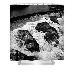 Shower Curtain featuring the photograph Quechee, Vermont - Falls 2 Bw by Frank Romeo