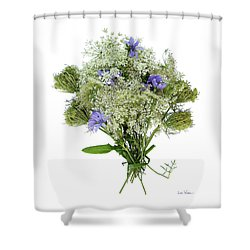 Queen Anne's Lace With Purple Flowers Shower Curtain by Lise Winne