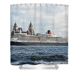 Queen Elizabeth Cruise Ship At Liverpool Shower Curtain