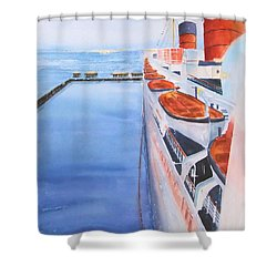Queen Mary From The Bridge Shower Curtain by Debbie Lewis