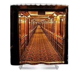Shower Curtain featuring the photograph Queen Mary Hallway by Mariola Bitner