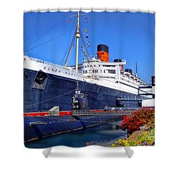 Queen Mary Ship Shower Curtain by Mariola Bitner