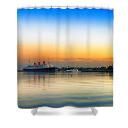 Shower Curtain featuring the photograph Queen Mary Sunset by Joseph Hollingsworth