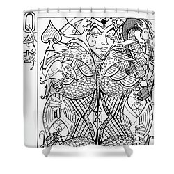 Shower Curtain featuring the drawing Queen Of Spades  by Jani Freimann
