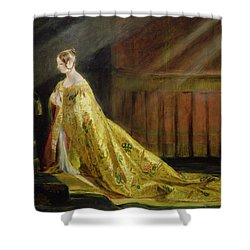 Queen Victoria In Her Coronation Robe Shower Curtain by Charles Robert Leslie