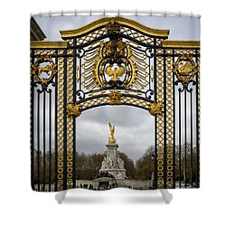 Shower Curtain featuring the photograph Queen Victoria's Statue by Shirley Mitchell