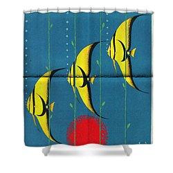 Queensland Great Barrier Reef - Vintage Poster Folded Shower Curtain