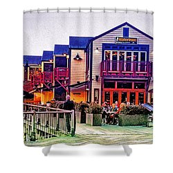 Shower Curtain featuring the photograph Queenstown Waterfront At Sunset by Kathy Kelly