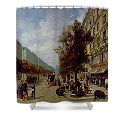 Queueing At The Door Of A Grocery Shower Curtain by Jacques Guiad