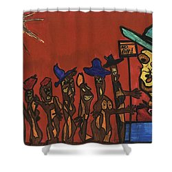 Queuing For Residuals  Shower Curtain