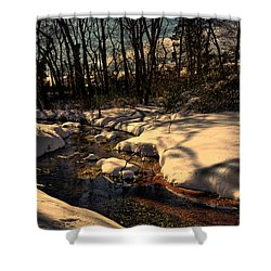 Quiet Brook On A Snowcovered Landscape Shower Curtain by Mikki Cucuzzo