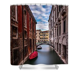 Shower Curtain featuring the photograph Quiet Canal In Venice by Andrew Soundarajan