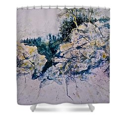 Shower Curtain featuring the painting Quiet Journey by Carolyn Rosenberger