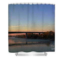 Quiet Morning River Shower Curtain by Yumi Johnson