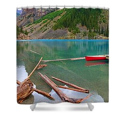 Moraine Lake I, Alberta Shower Curtain by Heather Vopni