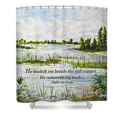 Quiet Waters Psalm 23 Shower Curtain