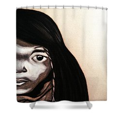 Shower Curtain featuring the drawing Quilcene.1912.northwest Tribes by Ayasha Loya