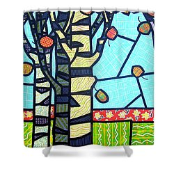 Shower Curtain featuring the painting Quilted Birch Garden by Jim Harris