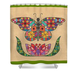 Quilted Butterfly Shower Curtain