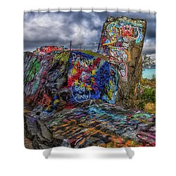 Quincy Quarries Graffiti Shower Curtain