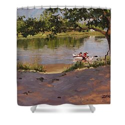 Shower Curtain featuring the painting Quincy's Hidden Gem by Laura Lee Zanghetti