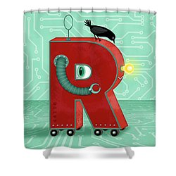 R Is For Robot Shower Curtain