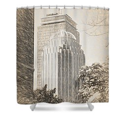 R2d2 Building And The Prudential Center Shower Curtain