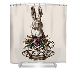 Rabbit In A Teacup Shower Curtain by Eclectic at HeART