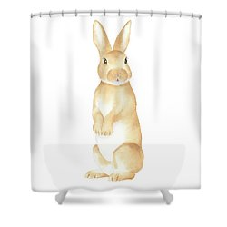 Rabbit Watercolor Shower Curtain by Taylan Apukovska