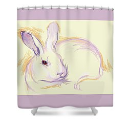 Shower Curtain featuring the pastel Rabbit With A Red Eye by MM Anderson