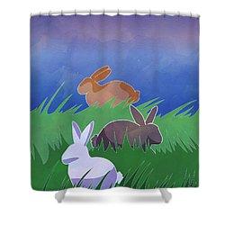 Rabbits Rabbits Rabbits Shower Curtain by Whitney Morton
