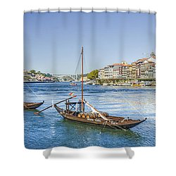 Shower Curtain featuring the photograph Rabelos On The Douro by Brian Tarr