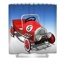 Shower Curtain featuring the photograph Race Car Peddle Car by Mike McGlothlen