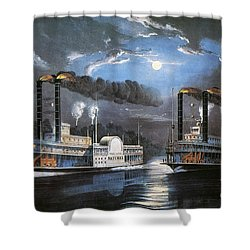 Race On Mississippi, 1860 Shower Curtain by Granger