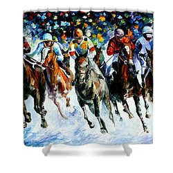 Race On The Snow Shower Curtain by Leonid Afremov