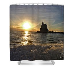 Race Rock Lighthouse, New York Shower Curtain