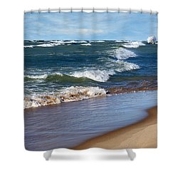 Race To Shore Shower Curtain by Kathi Mirto