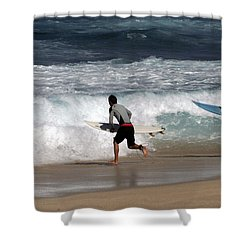 Race To The Waves Shower Curtain