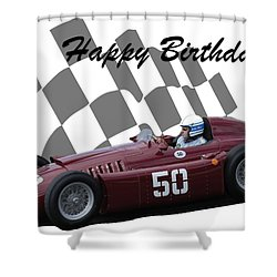 Racing Car Birthday Card 1 Shower Curtain by John Colley