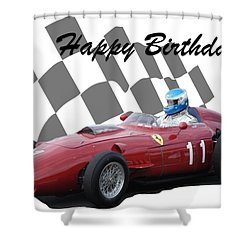 Racing Car Birthday Card 2 Shower Curtain by John Colley