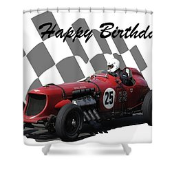Racing Car Birthday Card 3 Shower Curtain by John Colley