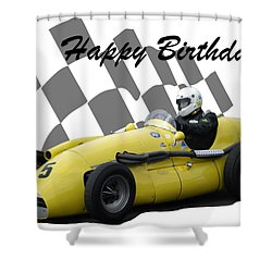 Racing Car Birthday Card 4 Shower Curtain by John Colley